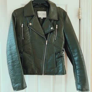 Rachel Roy Olive Green Biker Leather Jacket